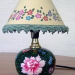 Lampada, colori per stoffa e pittura a freddo