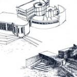 Progetto per un museo, schizzi a china