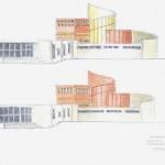Progetto per un museo, schizzi a matite