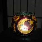 Porta candela dipinto con colori per il vetro