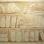 Tableau, libreria in trompe l'oeil.